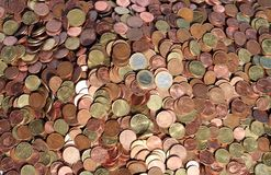 Copper coins. Collection of euro copper coins. sharp in the middle Royalty Free Stock Photography