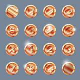 Copper coins set Royalty Free Stock Photography