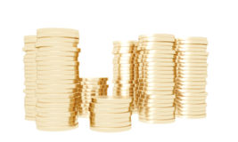 Copper coins stacked Royalty Free Stock Photo