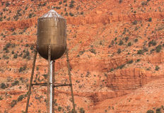 Copper Color Rustic Water Tower Utility Red Rock Mountain Backgr Royalty Free Stock Images