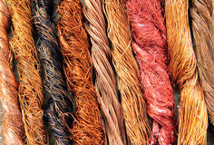 Copper. Colorful copper scrap wires background royalty free stock photo