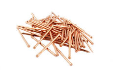 Copper construction nails Royalty Free Stock Images