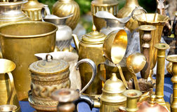 Copper cookware. Display of old copper cookware royalty free stock image