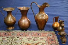 Copper cookware. Various sizes and shapes royalty free stock images
