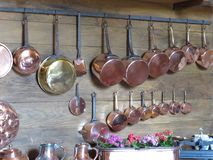 Copper cookware Stock Photography