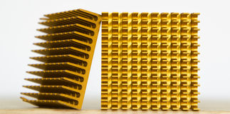 Copper Cooler Heat Sink Closeup,  Background Textured Pattern Ab. Stract, Yellow, Gold, Golden Royalty Free Stock Photos