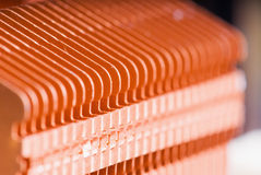 Copper cooling fins on computer motherboard Royalty Free Stock Photos