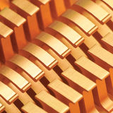 Copper CPU or GPU Cooler Heat Sink Macro Closeup, Large Detailed Horizontal Background Textured Pattern Abstract, Yellow, Golden Stock Image