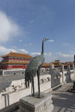 A Copper Crane in The Forbidden City Royalty Free Stock Photo