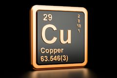 Copper Cu chemical element. 3D rendering. Copper Cu, chemical element. 3D rendering on black background vector illustration