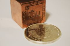 Copper cube that is worth nothing on a white background stock photography