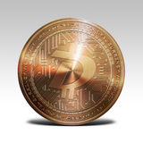 Copper digibyte coin isolated on white background 3d rendering. Illustration Stock Photos
