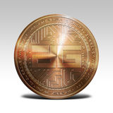 Copper digixDAO coin isolated on white background 3d rendering. Illustration Stock Photography
