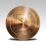 Copper dogecoin coin isolated on white background 3d rendering. Illustration Stock Photography