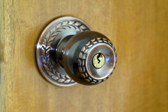 Copper door lock. Closeup picture of copper door lock royalty free stock photos