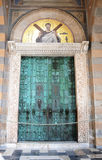 Copper door. Old copper door  with scenery of the bible at the  Saint Andrews cathedral in Amalfi city, Italy,.The cathedral is situated in the center of Amalfi Royalty Free Stock Photos