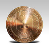 Copper edgeless coin isolated on white background 3d rendering. Illustration Royalty Free Stock Images