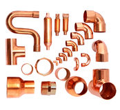 Copper elbows Stock Photos