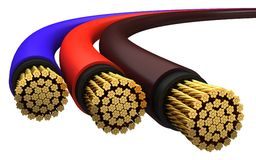 Copper electrical cable. On a white background Stock Photos