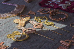 Copper ethnic jewelry barrettes, buckles, brooches Royalty Free Stock Photos