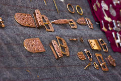 Copper ethnic jewelry barrettes, buckles, brooches Stock Photos