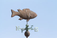 Copper Fish Weathervane. Walking on the beach, this beautiful weathervane captures your attention Stock Images