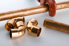 Copper fittings. And pipe with clipper Stock Image