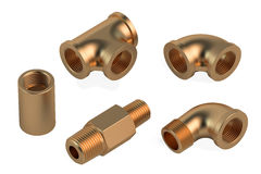 Copper fittings for plumbing pipes Royalty Free Stock Photos