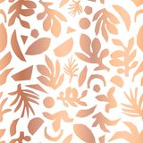 Copper foil abstract floral plant shapes seamless vector background. Metallic rose gold pattern. royalty free illustration