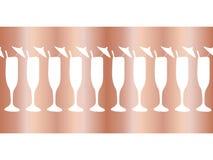 Copper foil champagne flutes seamless vector pattern border. Cocktail glasses on rose gold background. For restaurant, bar menu, stock illustration