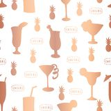 Copper foil cocktail glass vector pattern tile stock illustration