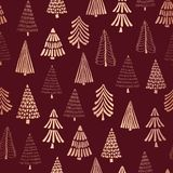 Copper foil doodle Christmas trees seamless vector pattern backdrop. Metallic shiny rose golden trees on red background. Elegant. Design for Christmas, New Year vector illustration