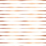 Copper foil hand drawn horizontal lines seamless vector pattern. Rose gold wavy irregular stripes on white background. Elegant royalty free illustration