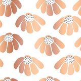 Copper foil Seamless repeat vector flowers background. Scattered florals pattern. Rose Gold metallic flowers. For girl, nursery, vector illustration