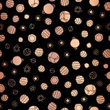 Copper foil space planets seamless vector pattern background. Rose Golden hand drawn cosmic elements planets stars on black royalty free illustration