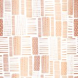 Copper foil textured rectangle seamless vector pattern. Hand drawn rose gold abstract shapes on white background. Banner, pagefill royalty free illustration