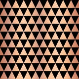 Copper foil triangle geometric seamless vector pattern. Rose gold shiny triangle shapes on black background. Elegant for web vector illustration