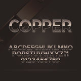 Copper Font and Numbers. Eps 10 Vector, Editable for any Background Stock Photo