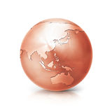 Copper globe 3D illustration asia and australia map. On white background Royalty Free Stock Images