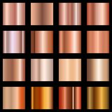Copper gradients set. Collection of metallic gradient for background, cover, frame, ribbon, banner, coin, label, flyer. Card poster Vector EPS 10 vector illustration