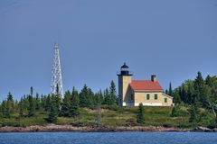 Copper Harbor Light is a lighthouse located in the harbor of Copper Harbor, Michigan USA on the Keweenaw Peninsula of Upper royalty free stock image