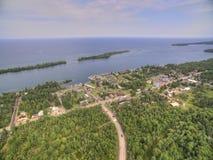 Copper Harbor Michigan. Copper Harbor in Northern Michigan`s Upper Peninsula during Summer via Drone Royalty Free Stock Photo
