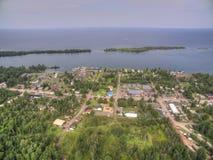 Copper Harbor Michigan. Copper Harbor in Northern Michigan`s Upper Peninsula during Summer via Drone Stock Photography