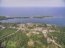 Copper Harbor Michigan. Copper Harbor in Northern Michigan`s Upper Peninsula during Summer via Drone Stock Photo