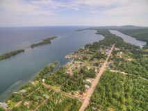 Copper Harbor Michigan. Copper Harbor in Northern Michigan`s Upper Peninsula during Summer via Drone Royalty Free Stock Images