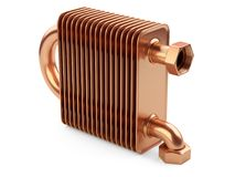 Copper heat exchanger with tubes for connection of Industrial co Royalty Free Stock Photography
