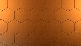 Copper hexagon background. 3d copper gold hexagon background royalty free illustration
