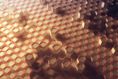 Copper honeycomb background. Abstract copper honeycomb background. 3D Rendering Stock Images