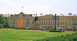 Copper Horseman. Building of the Constitutional Court and the Copper Horseman on the area on river bank of Neva. St.-Petersburg, Russia Stock Photos