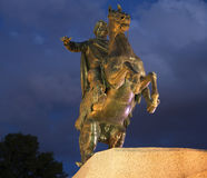 The copper horseman closeup summer night. Saint-Petersburg Stock Photo